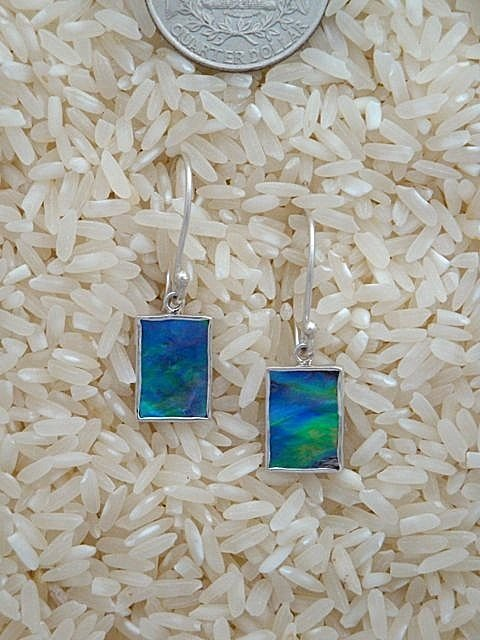 Paua Abalone Earrings Rectangular X-Small w/ No Stones