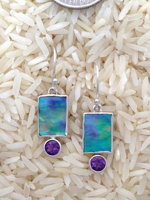 Paua Abalone Earrings Rectangular X-Small with Round Gemstone