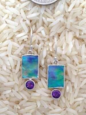 Paua Abalone Earrings Rectangular X-Small with Round Gemstone