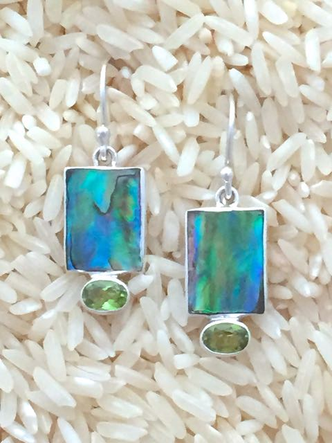 Paua Abalone Earrings Rectangular X-Small with Oval Gemstone
