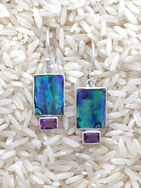 Paua Abalone Earrings Rectangular X-Small with Emer Cut Gemstone