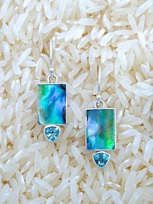 Paua Abalone Earrings Rectangular X-Small with Trill Gemstone