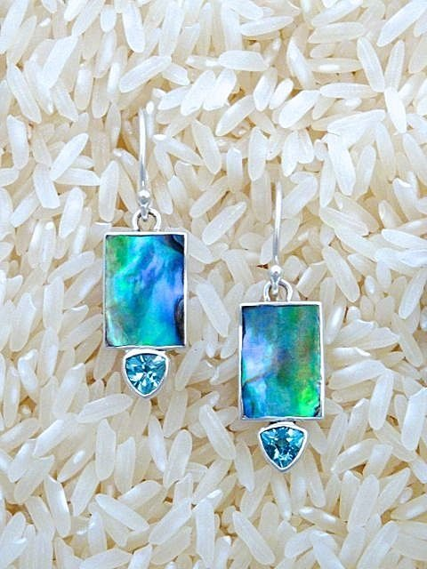 Paua Abalone Earrings Rectangular X-Small with Trill Gemstone