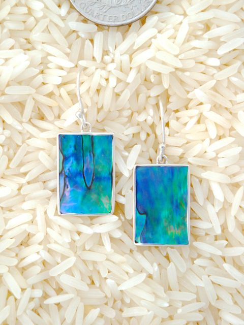 Paua Abalone Earrings Rectangular Small-Medium w/ No Stones