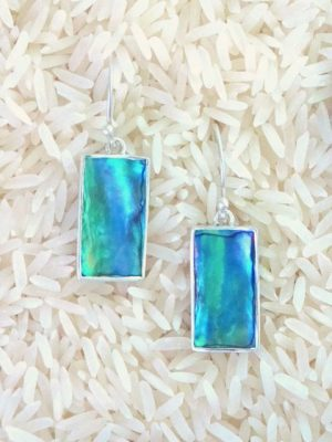 Paua Abalone Earrings Long Rectangle X-Small w/ No Stones