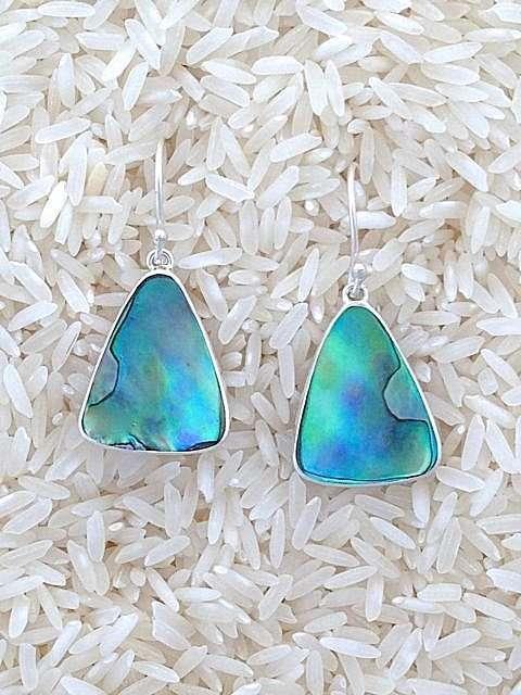 Paua Abalone Earrings Teardrop Small No Stones