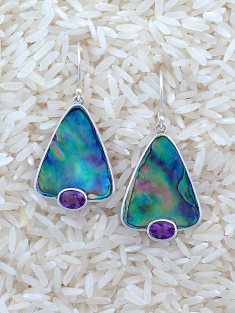 Paua Abalone Earrings Teardrop Medium w/ Oval Amethyst
