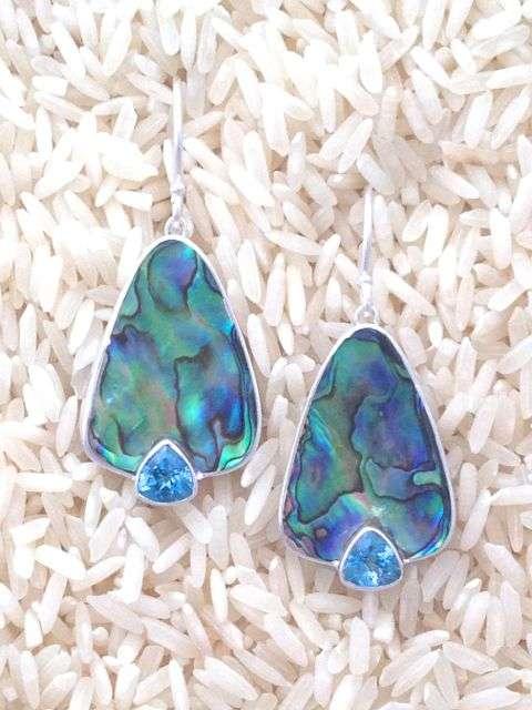 Paua Abalone Earrings Teardrop Medium w/ Trill Blue Topaz