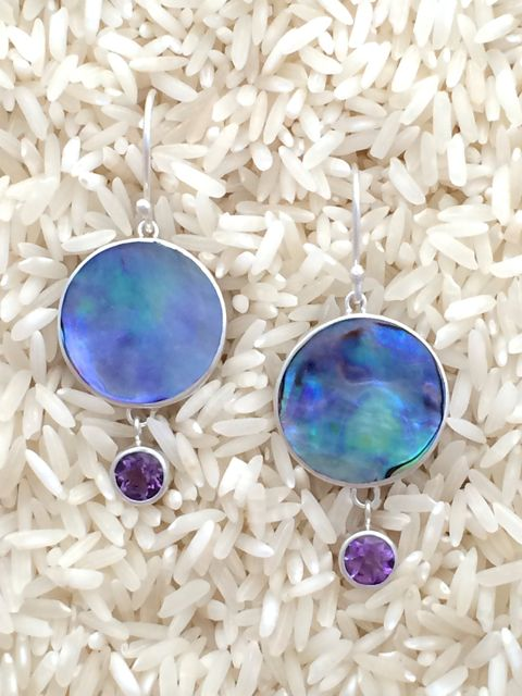 Paua Abalone Earrings Round Dangles Small w/ Rd Amethyst