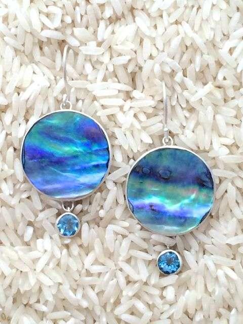 Paua Abalone Earrings Round Dangles Medium-Large w/ Rd Blue Topaz
