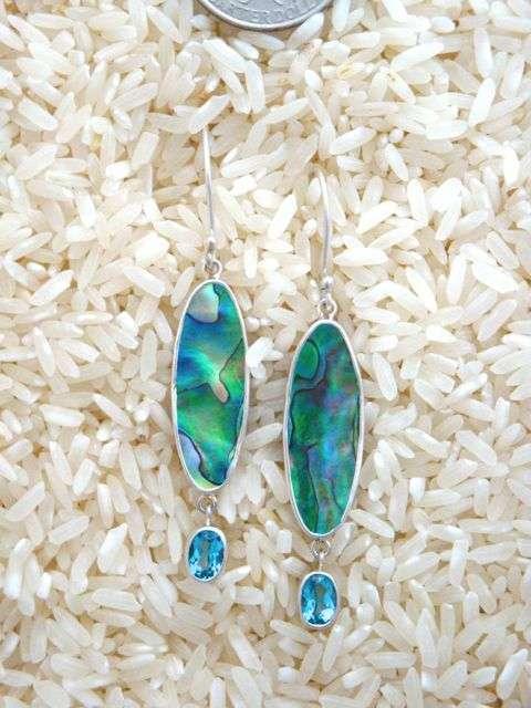 Paua Abalone Earrings Oval Wings w/ Oval Blue Topaz