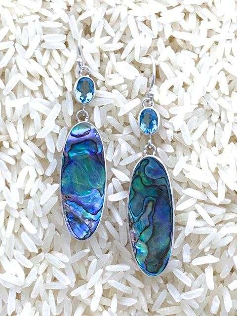 Paua Abalone Earrings Oval Wings Dangle w/ Oval Blue Topaz