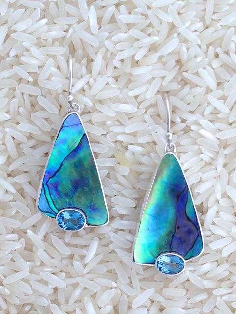 Paua Abalone Earrings Shield Medium w/ Trill Amethyst