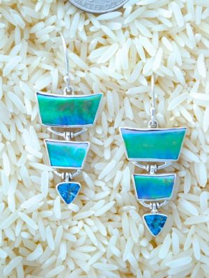 Paua Abalone Earrings Pagoda Style with Trill Blue Topaz