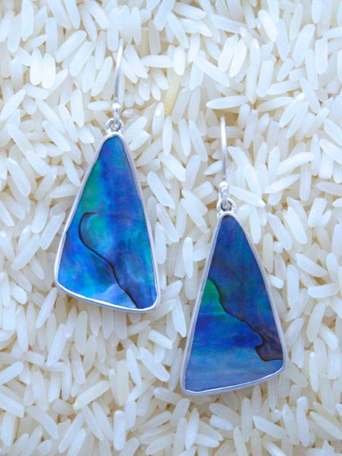 Paua Abalone Earrings Shield Dangles Medium