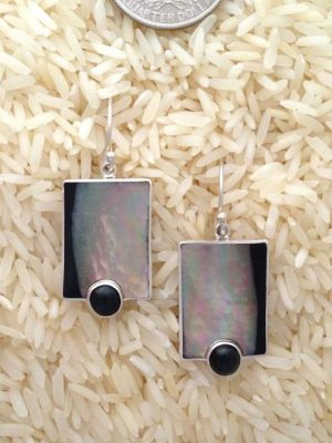 Black Lip Earrings Rectangular Medium w/ Rd Black Star Diopside