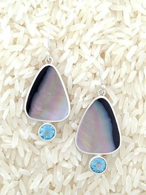 Black Lip Earrings Teardrop Small-Medium w/ Rd Blue Topaz
