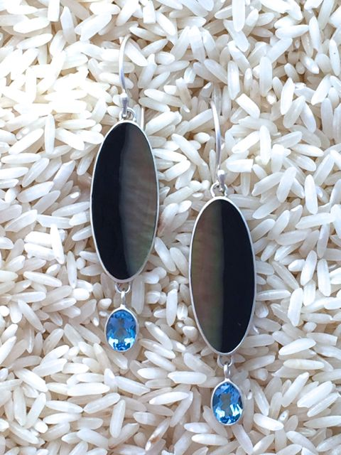 Black Lip Earrings Oval Medium w/ Dangle Oval Blue Topaz