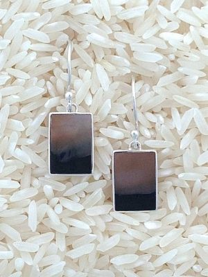 Black Lip Earrings Rectangular X-Small No Stones