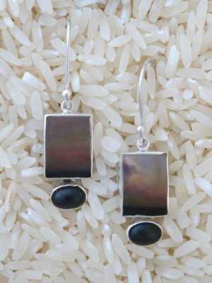 Black Lip Oyster Earrings Rectangular Small with Black Star Diopside