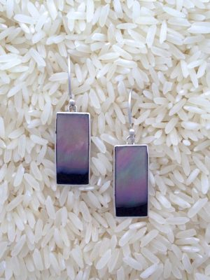 Black Lip Oyster Earrings Rectangular Long No Stones