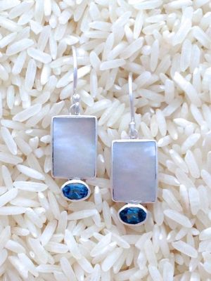 Mother-of-Pearl Earrings Rectangular X-Small w/ Blue Topaz