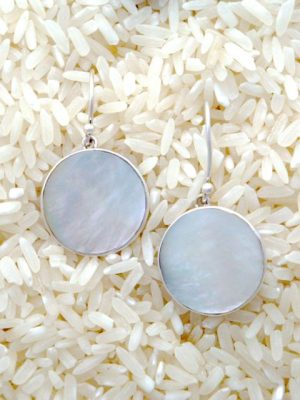 Mother-of-Pearl Earrings Round Small