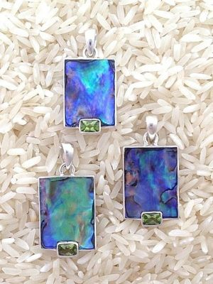 Paua Abalone Pendant Rectangular Small w/ EC Gemstone
