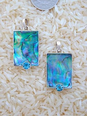 Paua Abalone Pendant Rectangular Medium-Small w/ Rd Blue Topaz