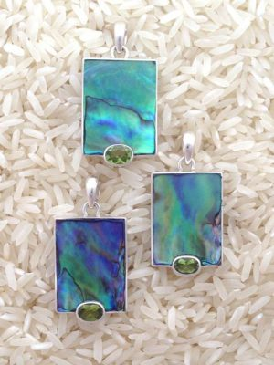 Paua Abalone Pendant Rectangular Medium-Small w/ Oval Gemstone