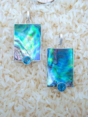 Paua Abalone Pendant Rectangular Medium w/ Rd Blue Topaz