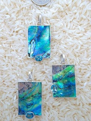 Paua Abalone Pendant Rectangular Medium w/ Oval Blue Topaz