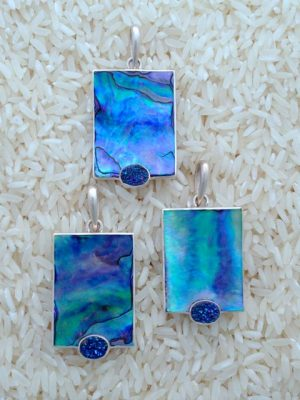 Paua Abalone Pendant Rectangular Medium-Large w/ Oval Gemstone