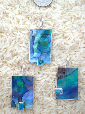 Paua Abalone Pendant Rectangular Medium w/ EC Blue Topaz