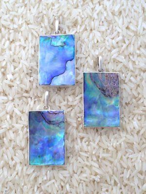 Paua Abalone Pendant Rectangular Medium-Large w/ No Stones