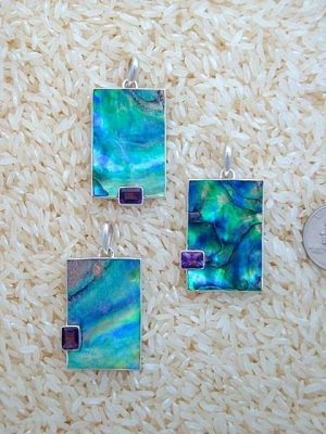 Paua Abalone Pendant Rectangular Medium-Large w/ EC Amethyst