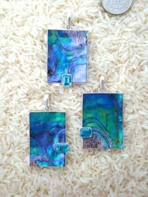 Paua Abalone Pendant Rectangular Large w/ Blue Topaz