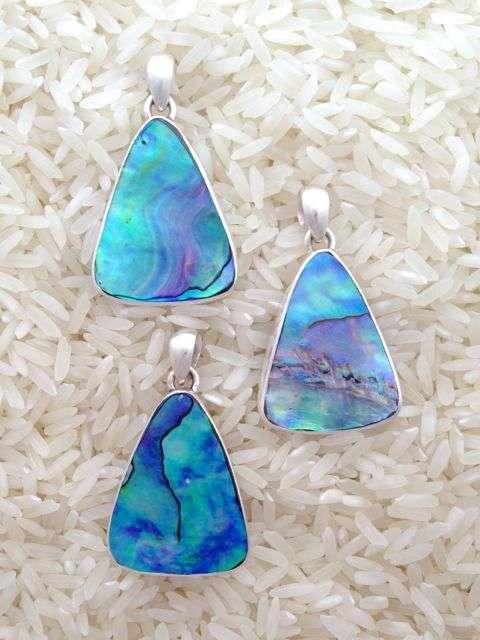 Paua Abalone Pendant Teardrop Small-Medium w/ No Stones