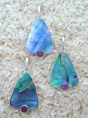Paua Abalone Pendant Teardrop Medium w/ Rd Gemstone