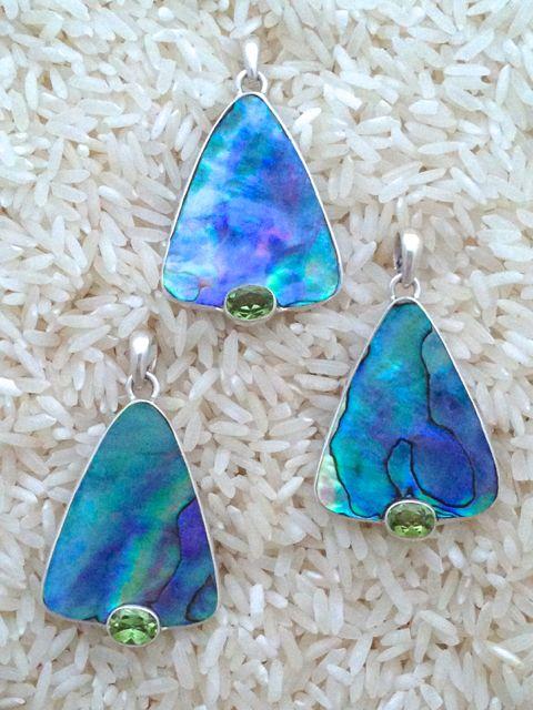 Paua Abalone Pendant Teardrop Medium w/ Oval Peridot