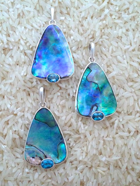 Paua Abalone Pendant Teardrop Medium w/ Oval Blue Topaz