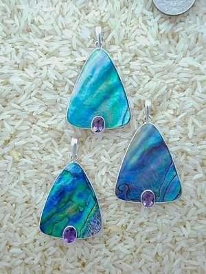 Paua Abalone Pendant Teardrop Large w/ Oval Amethyst