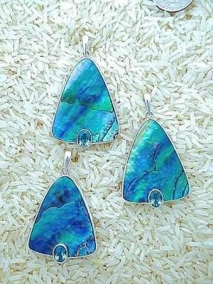 Paua Abalone Pendant Teardrop Large w/ Oval Blue Topaz