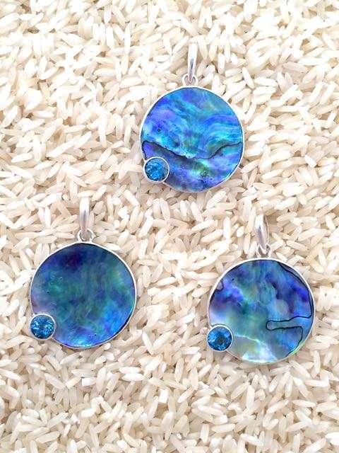 Paua Abalone Pendant Round Medium w/ Oval Blue Topaz