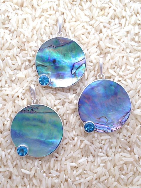 Paua Abalone Pendant Round Large w/ Rd Blue Topaz