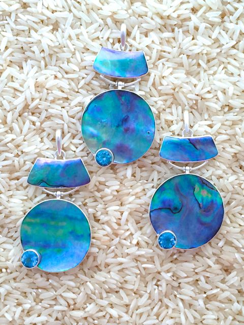 Paua Abalone Pendant Round Suspended Large w/ Rd Blue Topaz