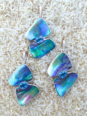 Paua Abalone Pendant Double Wave w/ Gemstone
