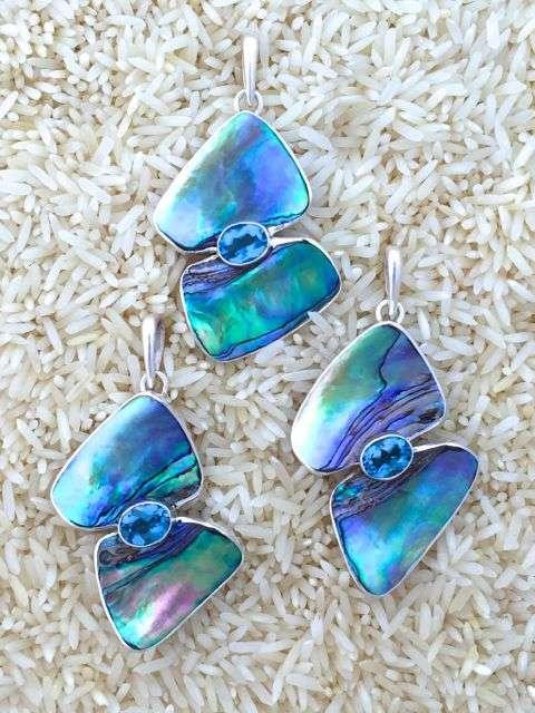 Paua Abalone Pendant Double Wave w/ Blue Topaz