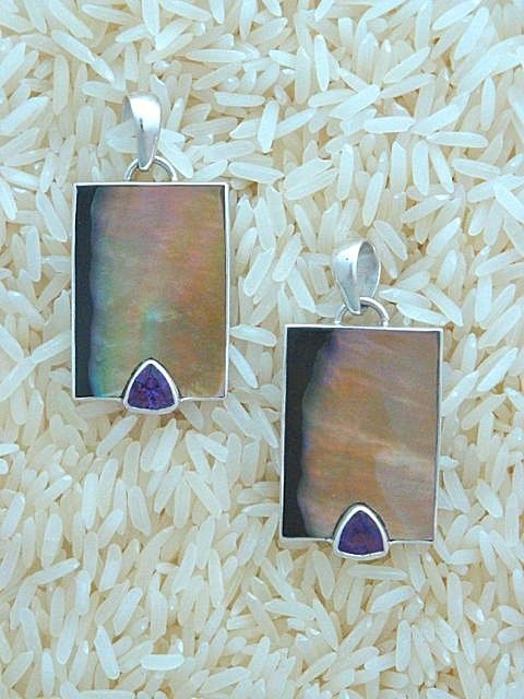 Black Lip Pendant Rectangular Small w/ Trill Amethyst