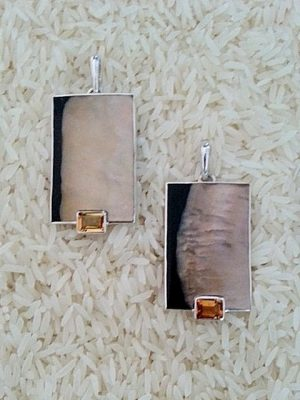 Black Lip Pendant Rectangular Medium-Large w/ EC Citrine
